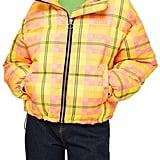 Topshop Bright Check Puffa Jacket