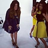 Kim Kardashian's dancing put a smile on Khloé Kardashian's face.  Source: Instagram user kimkardashian