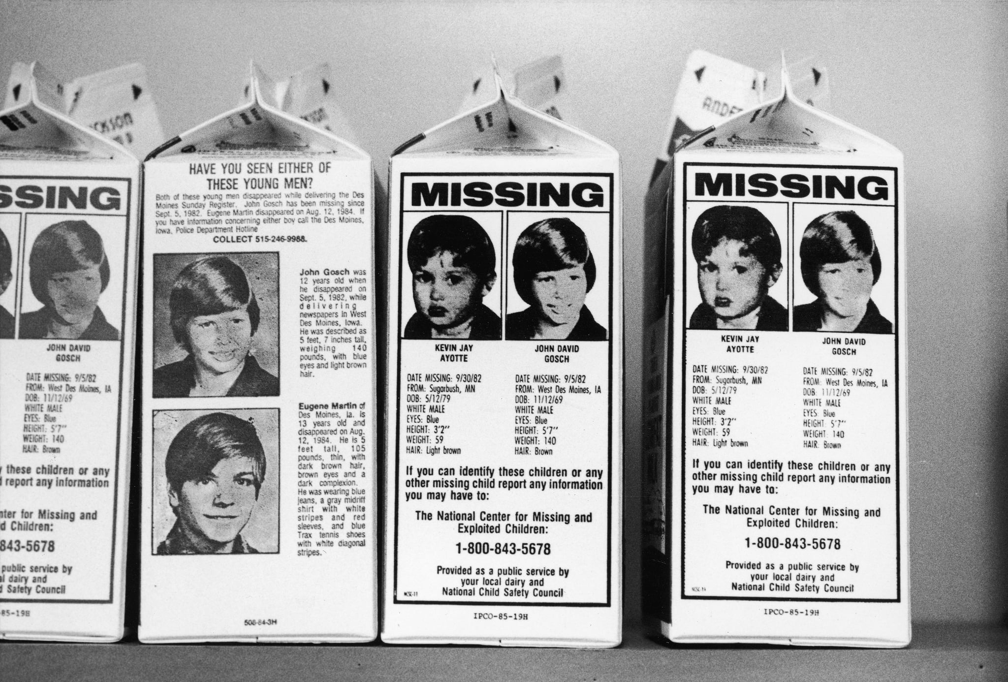 Milk cartons w. portraits of var. missing children who are assumed to have been kidnapped incl. Johnny Gosch, Kevin Ayotte & Eugene Martin.  (Photo by Taro Yamasaki/The LIFE Images Collection/Getty Images)