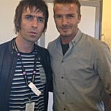 David Beckham snapped a photo at the closing ceremonies with Liam Gallagher. Source: Twitter user David Beckham