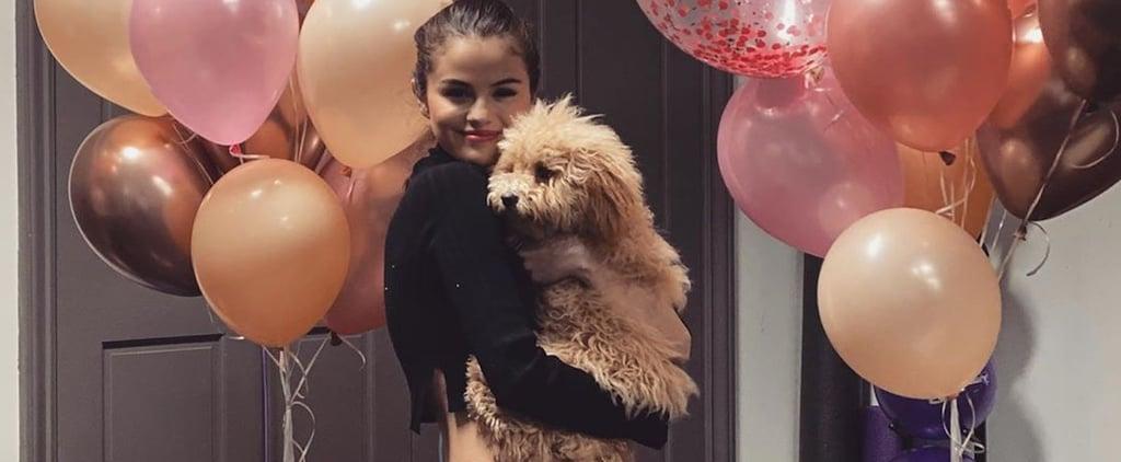 Selena Gomez Celebrated Rare Beauty in Pink Sweat Shorts