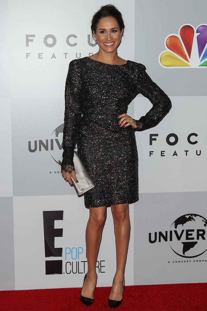 Meghan knows how to sparkle, and she proved it at the 2013 Golden Globe Awards after-party. She paired her long-sleeved midi dress with a metallic clutch and simple heels.