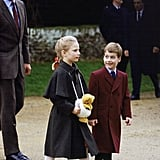 William and his cousin Zara Phillips walked side by side together on Christmas Day in 1988.