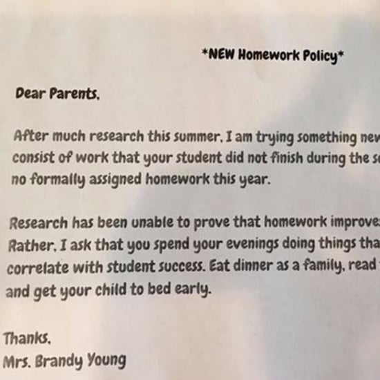 Teacher's No Homework Policy Note