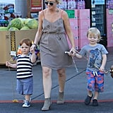 Amy Poehler bought sons Abel and Archie balloons while out in LA.