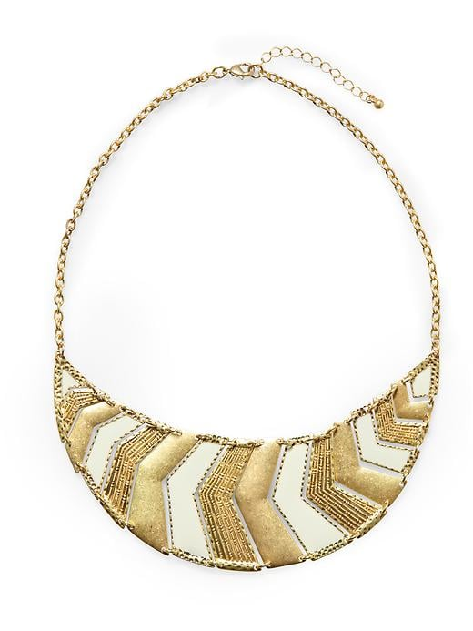 We love the bold look of this chevron-patterned necklace — try styling it with an even bolder hue. Tinley Road Chevron Plated Necklace ($38)