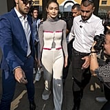 Gigi in a Pink Dyed Tracksuit