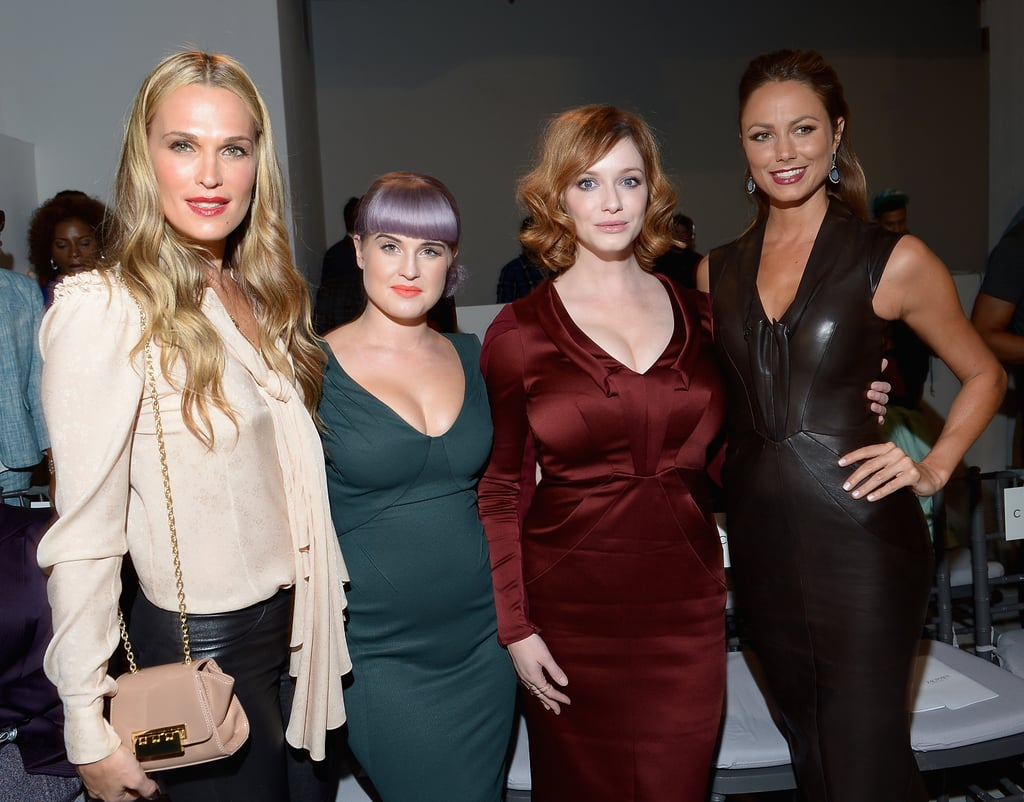 Molly Sims, Kelly Osbourne, Christina Hendricks, and Stacy Keibler posed in the front row at the Zac Posen show on Sunday.