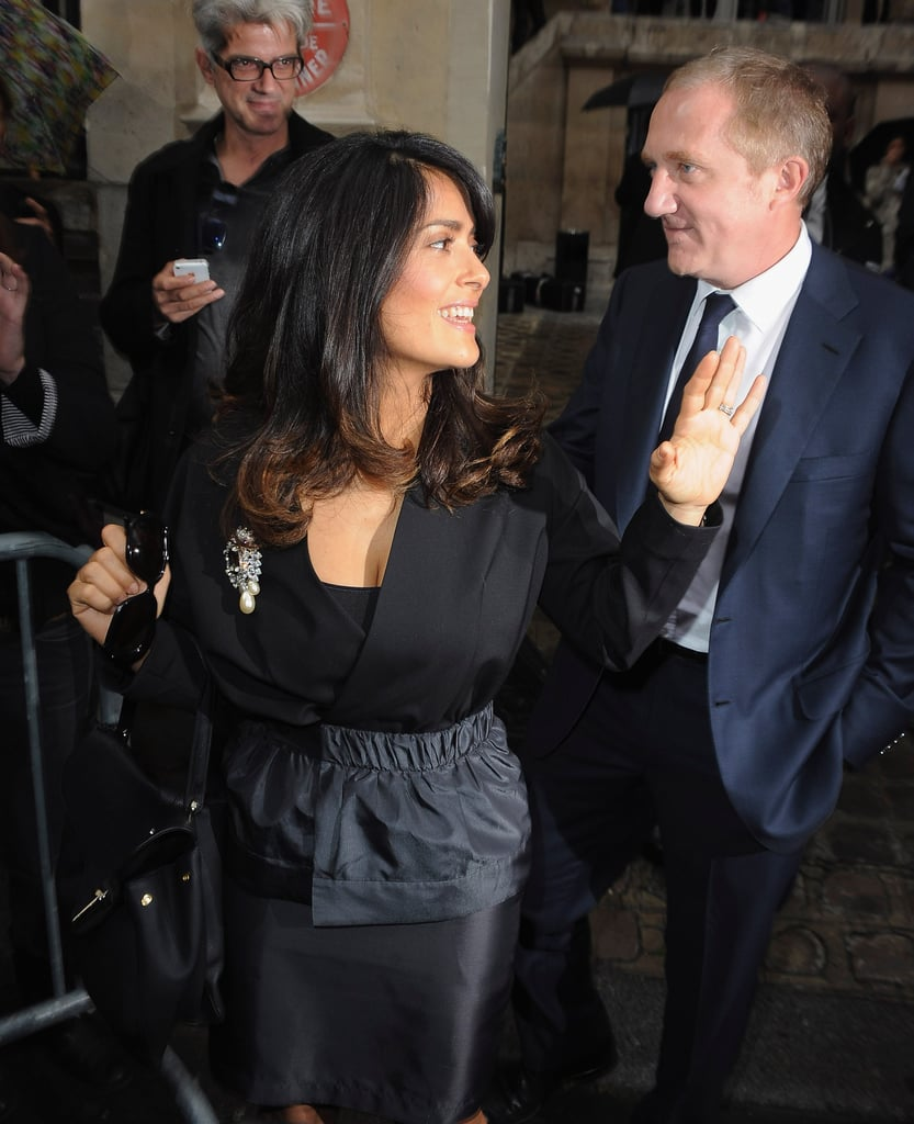 Salma Hayek and her husband, Francois-Henri Pinault, arrived at the show.