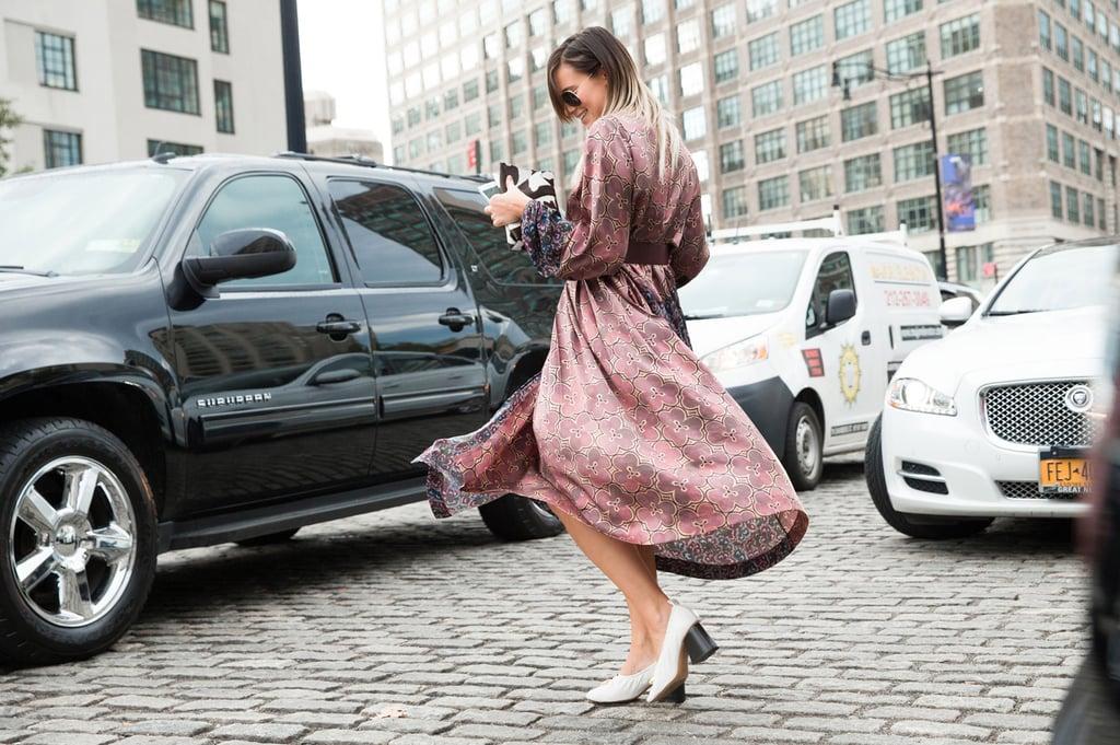 Danielle Bernstein wearing a Dries Van Noten dress and Céline shoes.