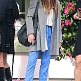 Jessica Biel paired her colorful pants with black heels.