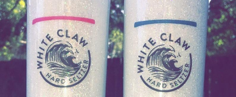 You Can Get Glittery White Claw Tumblers on Etsy