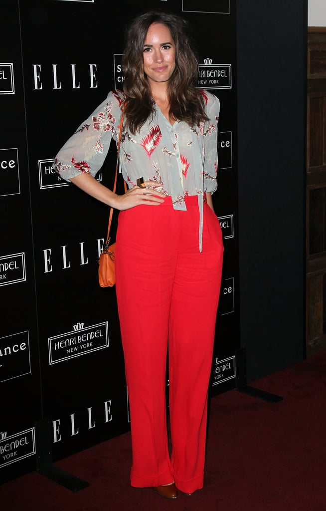 Louise Roe wore bright red pants and a printed blouse for Joe Zee's bash.