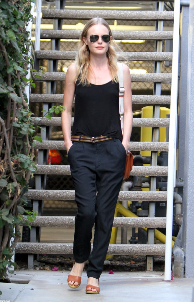 """Kate Bosworth stepped out solo for an outing in LA yesterday. She was without her usual companion, fiancé Michael Polish, with whom she shared a romantic moment earlier this week. On Wednesday, Michael tweeted a quote to his future bride that read, """"It was the kind of kiss that made me know that I was never so happy in my whole life."""" Apparently, the feelings were mutual, as Kate retweeted the passage to her own followers as well. This is not the first time the couple have revealed their love via social media. Last month, Kate posted a picture of her ring shortly after leaking the news of her engagement in the August issue of Vogue."""