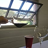 The Riedel Pinot Noir glass can tilt to a perfect 90-degree angle. This allowed the young, tight Santa Maria wine we tasted to loosen up.