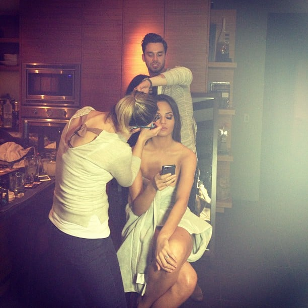 Chrissy Teigen prepared for the post-Oscars party madness with her glam squad. Source: Instagram user chrissy_teigen