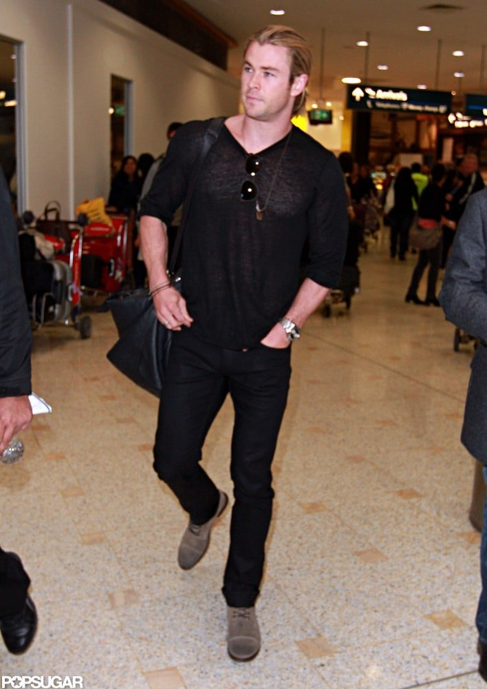 Chris Hemsworth continued his jet-setting with a trip to Sydney, a city he last visited in June while on his Snow White and the Huntsman press tour. He touched down today, starting a visit to his native Australia after enjoying downtime with his family in LA. Chris, his wife, Elsa Pataky, and their daughter, India, spent time together in California following stays in Madrid and London. He's fresh off a big weekend. On Sunday,Chris and Elsa took India for a stroll around their LA neighborhood and he also won choice male Summer movie star at the Teen Choice Awards. News also came out that Chris nabbed a role in Steven Spielberg's Robopocalypse.