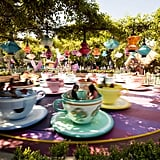 The purple teacup and the orange one with diamond shapes on it are the fastest spinners on the Mad Tea Party ride.