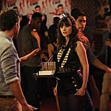 Jess tries her hand as a shot girl on New Girl.