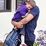 Tom Brady and his son Jack cuddled close.