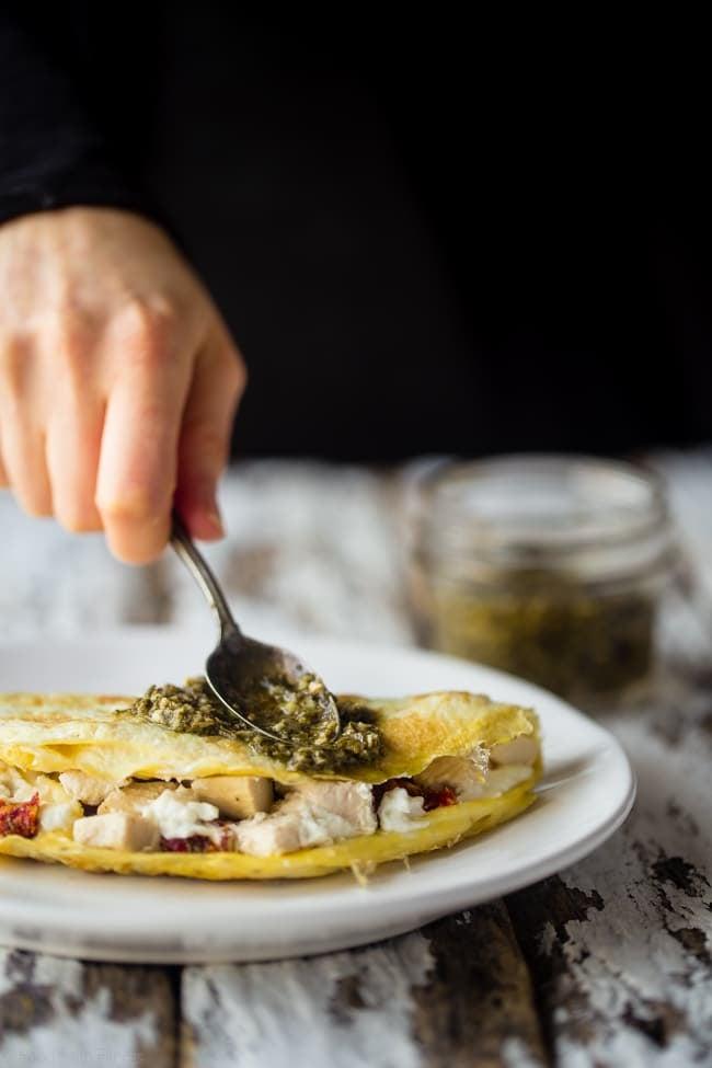 Pesto Egg White Omelet With Goat Cheese