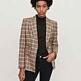 Maje Fitted Plaid Jacket