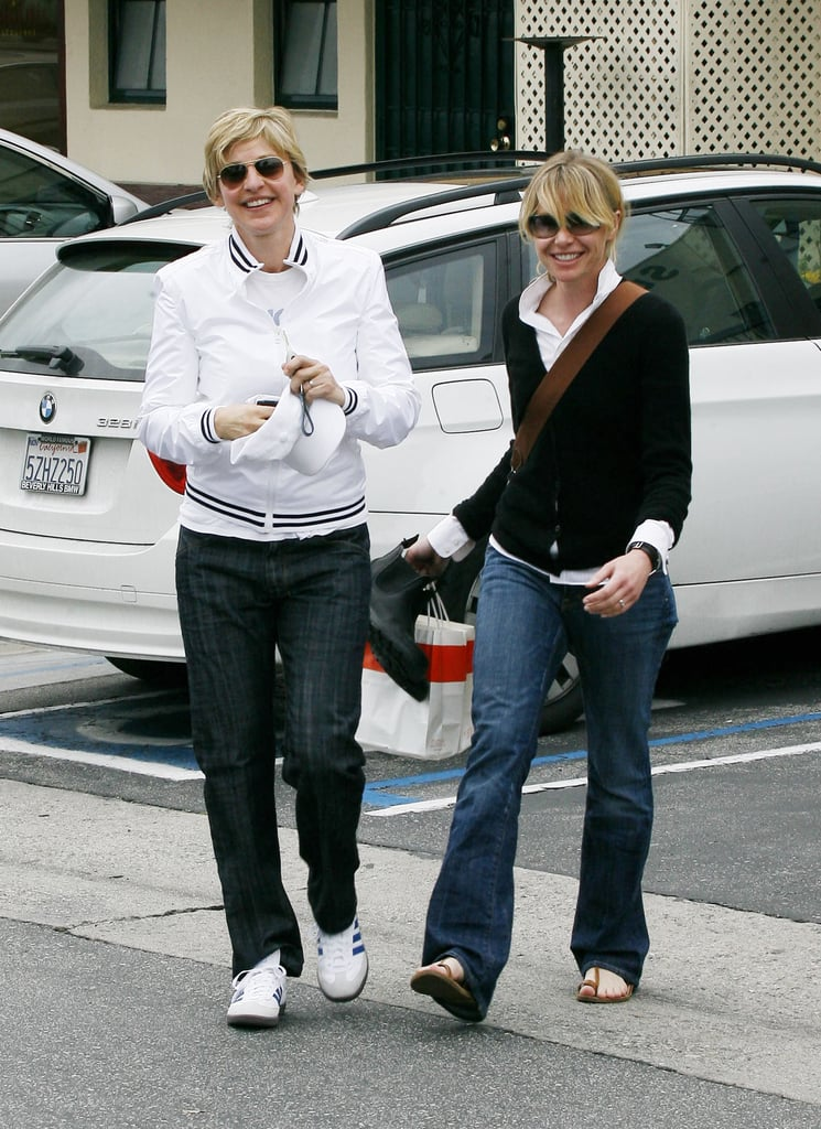 Ellen and Portia ran errands in LA side by side in February 2008.