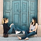 She and her pal Hannah hung out in a doorway.