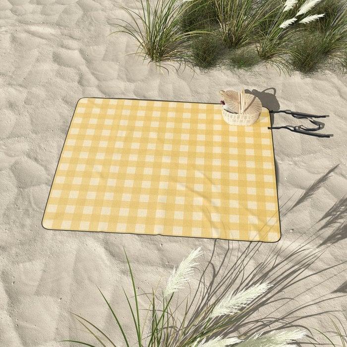 Gingham Pattern Yellow Picnic Blanket by midcenturymodern