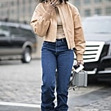 "Rock ""Bunched Up"" Jeans With a Cropped Jacket"