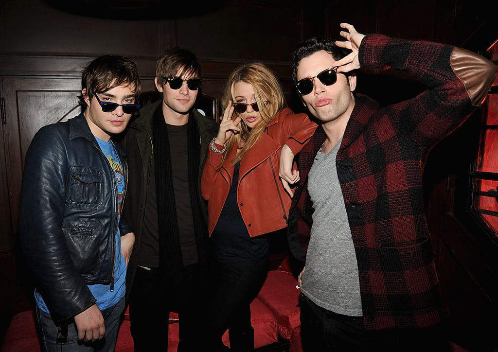 Ed Westwick, Chace Crawford, Blake Lively and Penn Badgley wore their sunglasses at night during a December 2008 event thrown in NYC.