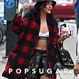 Rihanna bared her midriff in NYC on Friday.