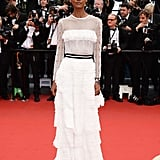 Liya Kebede chose a romantic white, ruffle-tiered confection for the Jeune & Jolie red carpet.