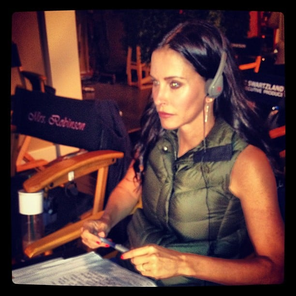 Courteney Cox took her place in the director's chair on the set of Cougar Town. Source: Instagram user mrjoshhopkins