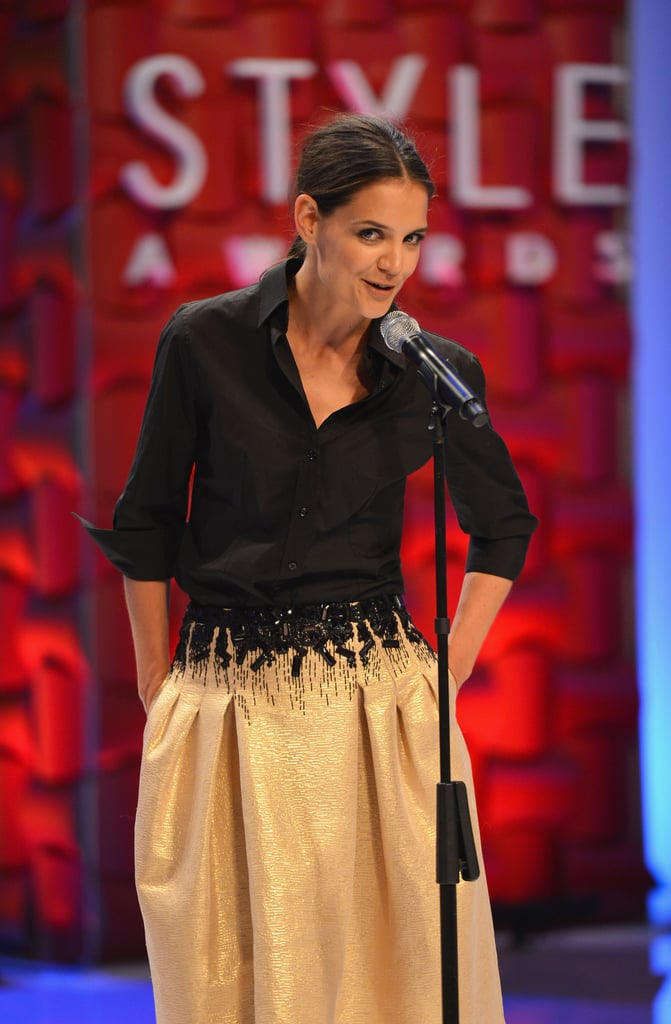 Katie Holmes took the stage to honor Carolina Herrera at the Style Awards.