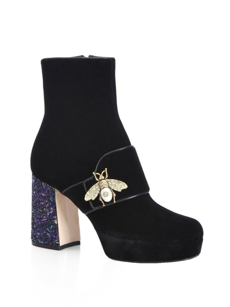 Gucci Soko Glitter Heel Velvet Booties