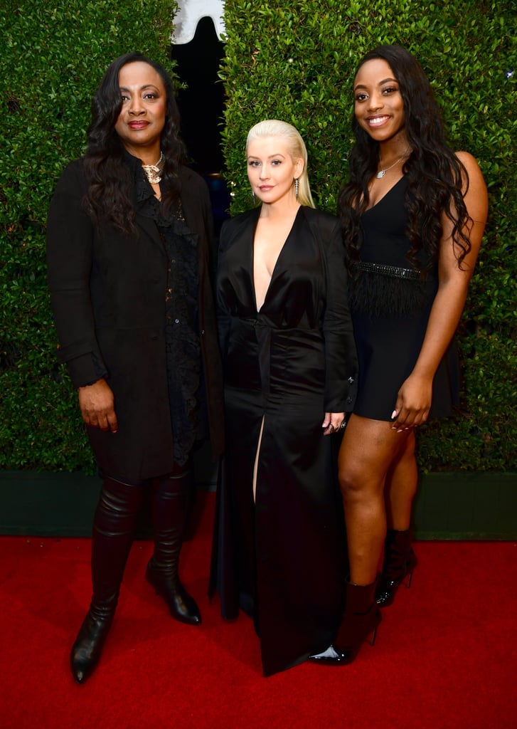 Pictured: Pat Houston, Christina Aguilera, and Rayah Houston