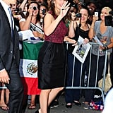 Jennifer Garner waved as she headed into her appearance on Good Morning America.