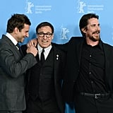 Bradley Cooper shared a moment with director David O. Russell and Christian Bale at their premiere on Friday.