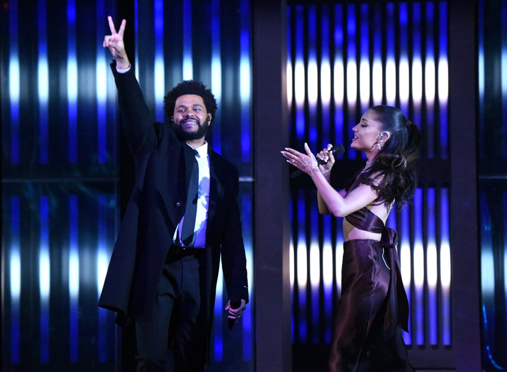 """The Weeknd and Ariana Grande held nothing back when they kicked off the iHeartRadio Music Awards on Thursday night. Their performance of """"Save Your Tears"""" was nothing short of spectacular, especially since it marked the first time the duo has performed the song live together. It seems we weren't the only ones excited, as both Grande and The Weeknd's singing was echoed by the voices of the live audience. The duo gave off sultry vintage vibes as Grande hit the highest of high notes. We're just glad The Weeknd seems to have retired his After Hours persona for the performance. While the Grammys may have snubbed The Weeknd, that wasn't the case for this year's iHeartRadio Music Awards. In total, the singer was nominated for eight awards, taking home song of the year, male artist of the year, and TikTok bop of the year. Grande earned a total of four nominations, including female artist of the year, dance song of the year, best fan army, and best music video. You can watch their full performance ahead.      Related:                                                                                                           The iHeartRadio Music Awards Red Carpet Is Here to Wow You Before the Long Weekend"""