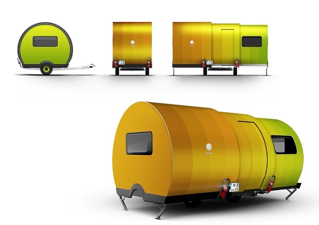 There are campers, and then there's the innovative Beauer 3X French trailer that uses a telescopic design to grow to triple its original size. It is a mere 20 feet, the perfect size for towing behind your vehicle. But once you detach and expand it, you have more than basic shelter for your camping trip; in just 20 seconds, it opens up to a 130-square-foot mini abode complete with bedroom, bathroom, kitchen, living room, and dining room, fully equipped to support a family of up to four. Even the furniture is positioned perfectly in place! Sure, these are still tiny spaces, especially that bathroom, but considering most trailers don't even have a bathroom, it's definitely a big upgrade. Curbed reports that the Beauer 3X trailer will be available for purchase in Europe in 2018 starting at around $33,00, and it is expected to be released in the US market thereafter.