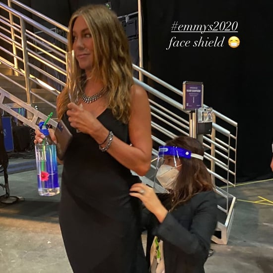Jennifer Aniston Wearing Black Dress to the Emmys 2020