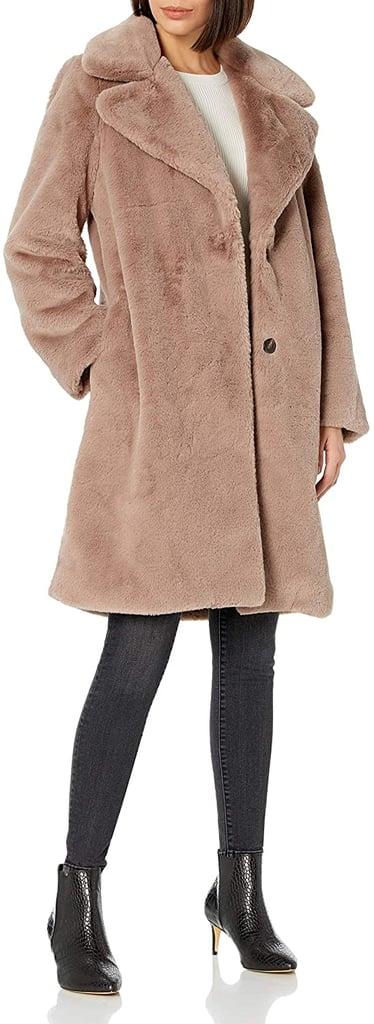 The Drop Kiara Loose-Fit Long Faux Fur Coat in Sand