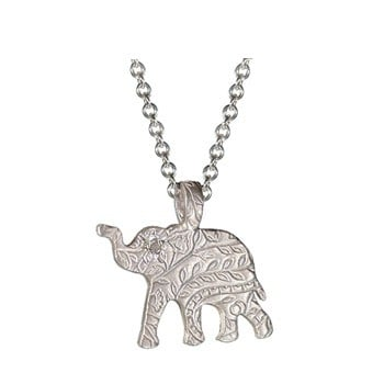 While some people love animal prints, I love animal motifs. And elephants with their trunks up are a symbol of good luck, so why not wear this adorable Me & Ro Paisley Elephant Pendant ($140) every day?  — Melissa Liebling-Goldberg
