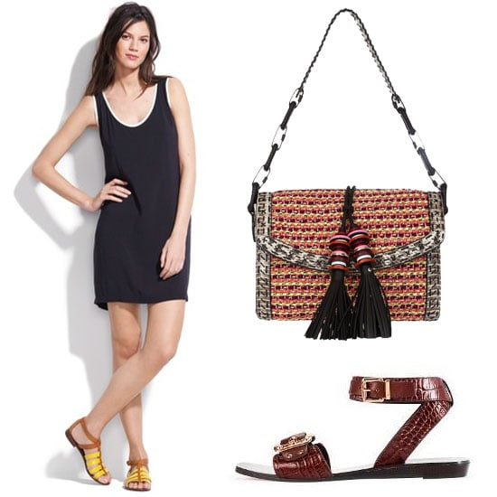 Accessories are the easiest way to inject a global touch to any ensemble. We're pairing this luxe woven clutch with a simple tank dress and wrap sandals for a casual-cum-cunning weekend look.  Madewell Sam & Lavi Diego Dress ($98), Jimmy Choo Laura Elaphe-Trimmed Woven Shoulder Bag ($2,295), Vince Camuto Florence Wrap Sandals ($175)