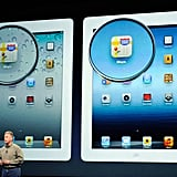 Phil Schiller shows off the higher resolution retina display of the upcoming iPad.
