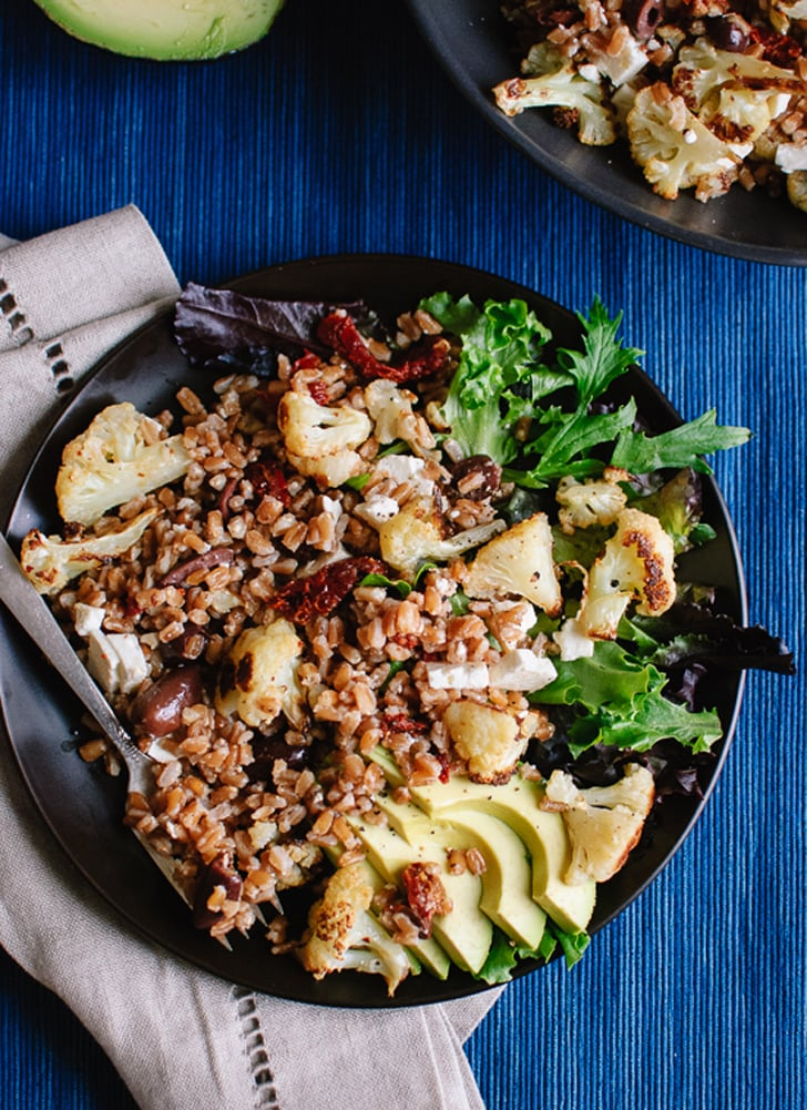 Roasted Cauliflower and Farro Salad With Feta and Avocado