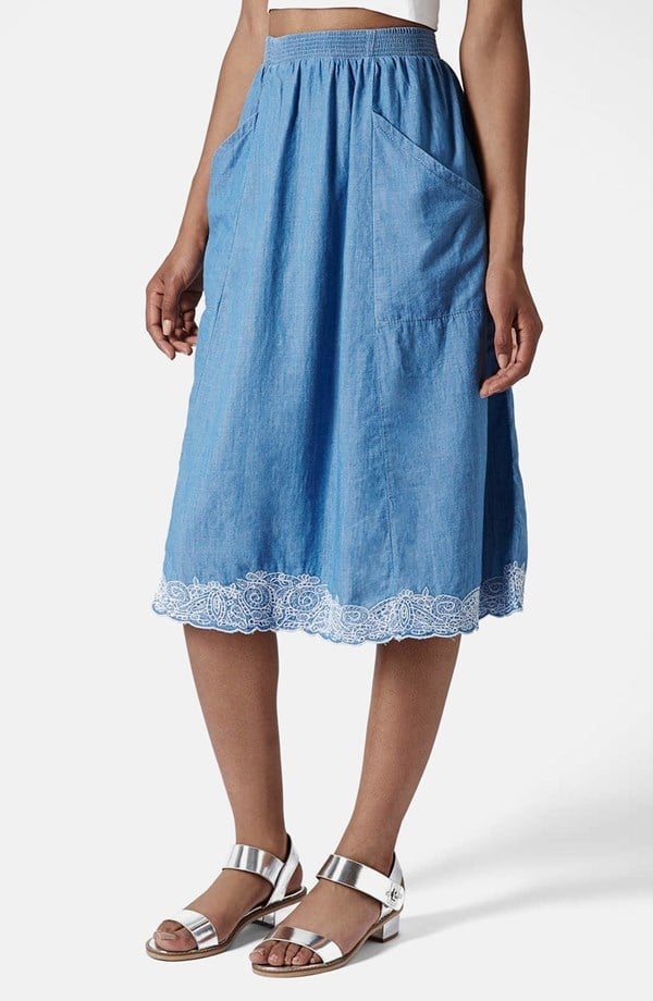 Topshop Moto Embroidered Chambray Midi Skirt