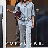 Victoria Beckham Gray Suit in London September 2018