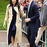 Day 3: Meghan Markle Wearing a Dion Lee Dress, Manolo Blahnik Heels, a Gucci Bag and Martin Grant Trench